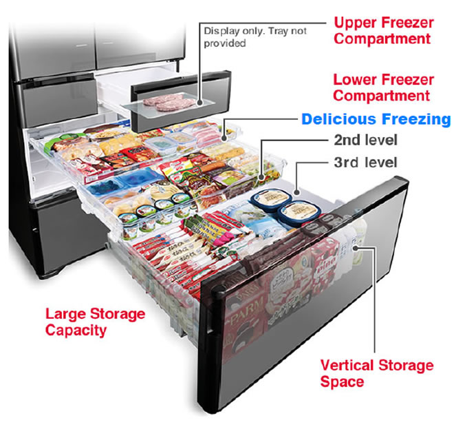 Large Storage Capacity, Upper Freezer Compartment, Lower Freezer Compartment, Vertical Storage Space